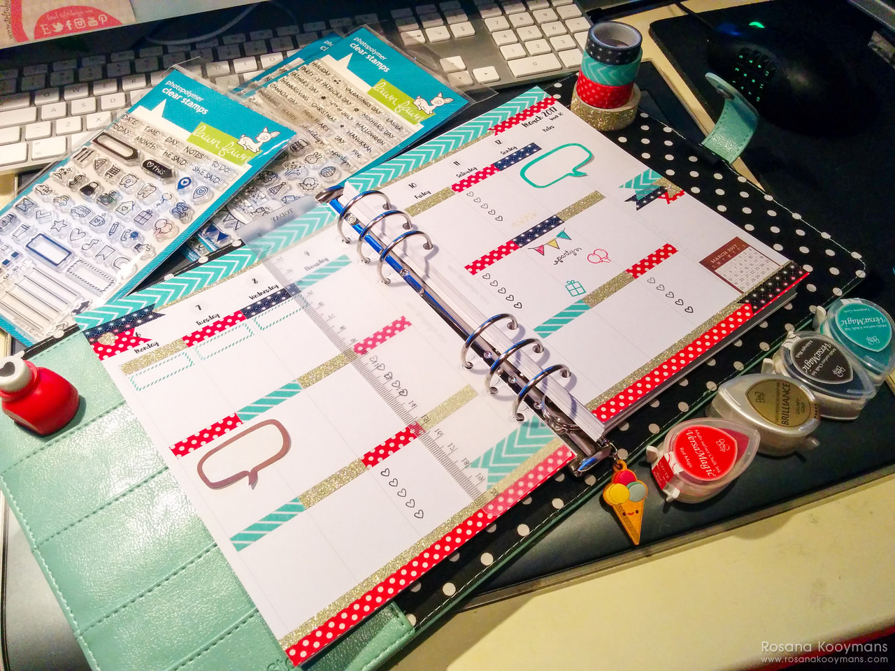 365 - March 8, 2017: Disney inspired planner spread week WO2P Carpe Diem Simple Stories Robin's Egg Mickey Mouse Minnie Mouse Disneyland